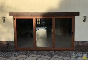 Origin 3 panel folding doors in golden oak